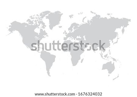 World map vector grey isolated on white background. Flat Earth,  Globe worldmap icon. Travel worldwide eps 10