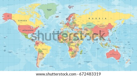 World Map Vector. High detailed illustration of worldmap #672483319