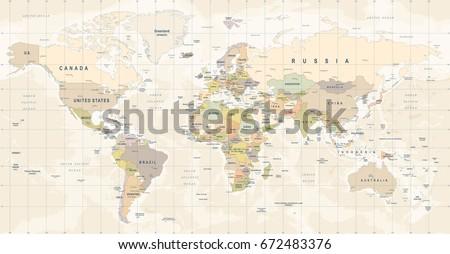 World Map Vector. High detailed illustration of worldmap #672483376