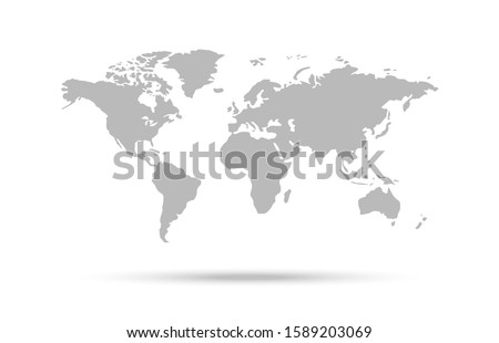 World map vector icon, countries and continents.