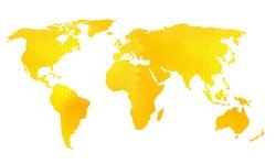 World map vector illustration, honeycomb pattern bee design.