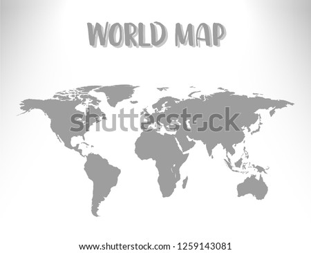 World map vector illustration isolated on white background with shadow.