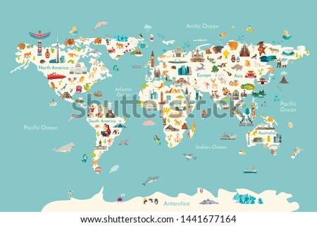 World map vector illustration. Landmarks, sight and animals hand draw icon. World vector poster for children, cute illustrated. Travel concept card