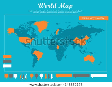 free vector world map with pins download free vector art stock
