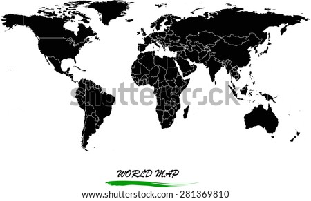 world map vector in black and