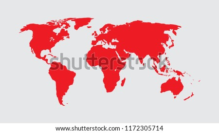 World Map Vector, Isolate on Blank Background, Flat Earth Map For Website, Annual Report, Infographics, World Map Illustration, Vector Illustration #1172305714