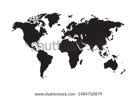 World map vector, isolated on white background. Black map template, flat earth.  Simplified, generalized world map with round corners.
