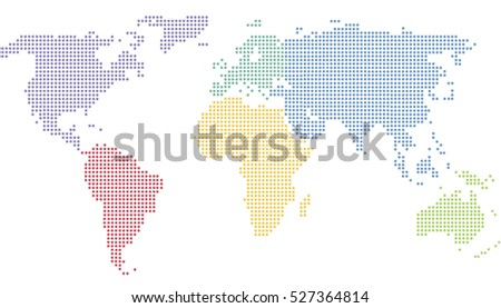 World map vector on white background. Dotted world map.
