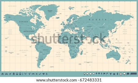 World Map Vector Vintage. High detailed illustration of worldmap #672483331
