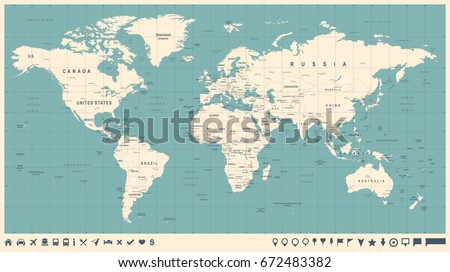 World Map Vector Vintage. High detailed illustration of worldmap