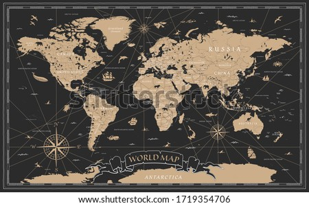 World Map Vintage Black Golden Detailed - Vector