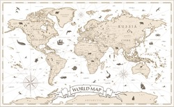 World Map Vintage Cartoon Detailed - vector with layaers