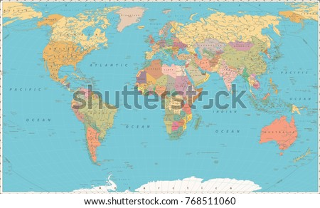 Global map vintage free vector download free vector art stock world map vintage color style large detailed world map vector illustration gumiabroncs Gallery