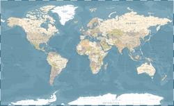 World Map Vintage Dark Political - Vector Detailed Illustration