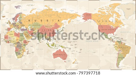 World Map Vintage Old Retro - Asia in Center- vector