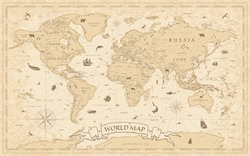 World Map Vintage Old-Style - vector - layers