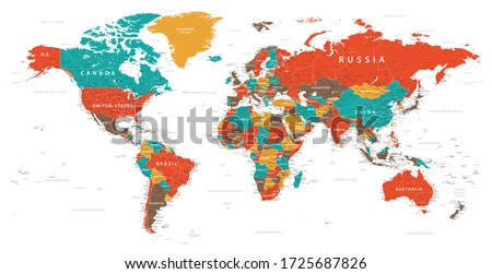 World Map Vintage Political - Vector Detailed Illustration - Layers