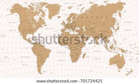 World Map Vintage Vector. Detailed illustration of worldmap #701724421