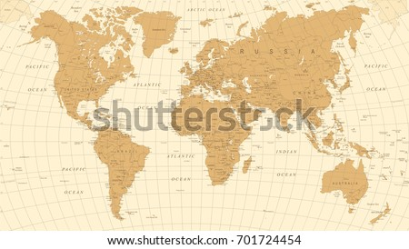 World Map Vintage Vector. Detailed illustration of worldmap #701724454