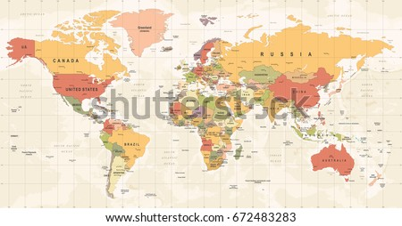 World Map Vintage Vector. High detailed illustration of worldmap #672483283