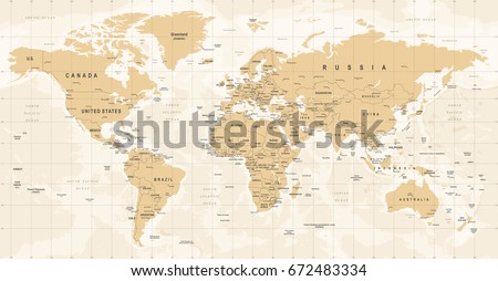 World Map Vintage Vector. High detailed illustration of worldmap #672483334