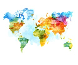 World Map Watercolor, isolated vector illustration. Design for stickers, logo, web and mobile app.
