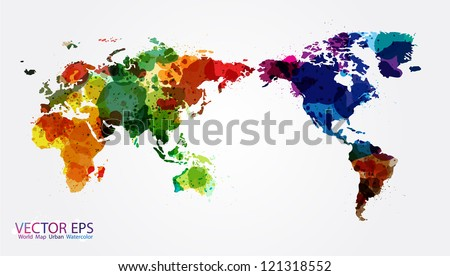 World Map Watercolor Vector Illustration