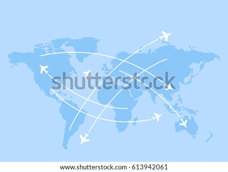 world map whit airplanes