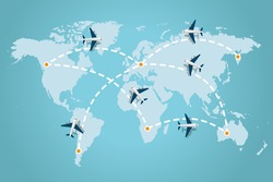 World map whit dashed trace line and airplanes flying. Travel concept. Vector illustration.