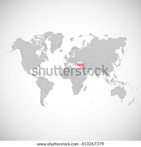 world map with a mark of turkey