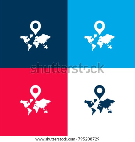 World map with a placeholder four color material and minimal icon logo set in red and blue #795208729