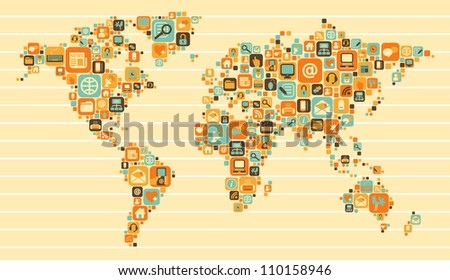 World Map with a set of social and media icons