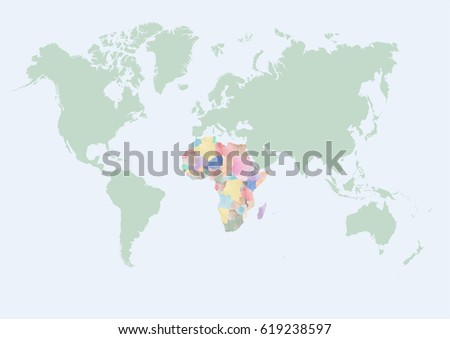 World map with Africa countries #619238597