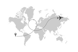 World map with airplane line path. Airplane flight route with start point and dash line trace. Vector