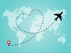 World map with airplane line path in heart form. Romantic and love travel concept