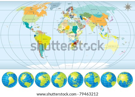 World Map with all Countries,  Capitals and set of Earth Globes, editable detailed vector, version 2011