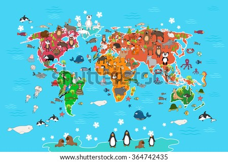 world map with animals monkey