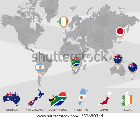World map with Australia, New Zealand, South Africa, Argentina, Japan, Ireland pointers. Vector Illustration.