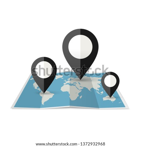 World Map with black Marker. Pins position on the map #1372932968