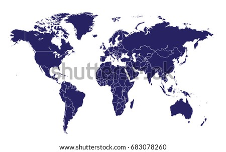 world map with borders vector