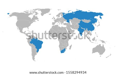 World map with BRICS countries vector illustration. Geographical business background graphics design.