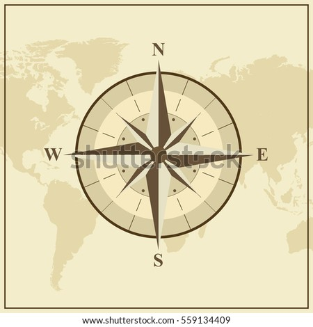 World map with brown compass illustration