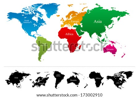 World continents map vector download free vector art stock world map with colorful continents atlas vector gumiabroncs