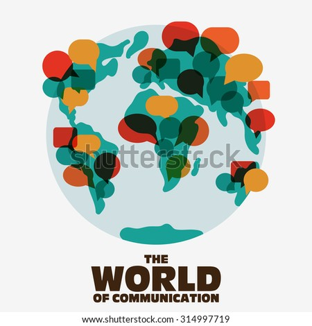 world map with colorful speech