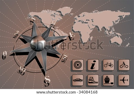 World map with compass rose and travel icons