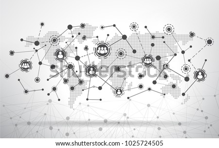 World map with connected user icons. Global Business Connect icons-Social Media Concept Design
