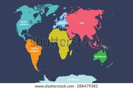 Vector de mapas de continentes del mundo descargue grficos y world map with continents names gumiabroncs Gallery