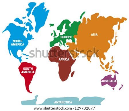 world map with continents (world map Illustration, world map showing the 7 continents)