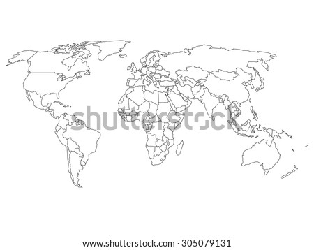 World map with country borders, thin black outline on white background #305079131