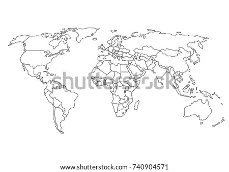 World map with country borders, thin black outline on white background